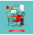 Office workplace interior Work at home concept vector image