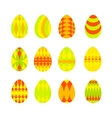 Set of bright colorful easter eggs isolated on vector image