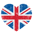 UK Great Britain retro heart flag - vector image