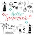 hello summer black icons vector image