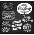 Christmas and New Year greetings badges vector image