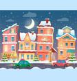christmas cartoon winter town in night vector image