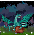 dragon in the night landscape vector image