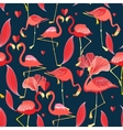 Graphic seamless pattern of red flamingo vector image