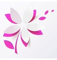 Pink paper flower greeting card template vector image vector image