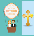 we are greeting married couple and airballoon vector image