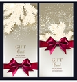 Greeting Christmas cards with bows and copy space vector image