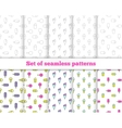 Set seamless patterns Line design ice cream vector image
