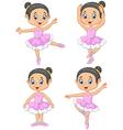 Cartoon little ballet dancer collection set vector image