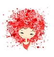 Woman in love portrait for your design vector image