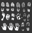 foot and hand prints vector image