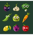 Funny Vegetable and Fruit Set vector image