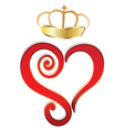 Heart and crown logo vector image