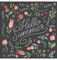 Hello Summer Lettering on a black background vector image