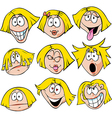 woman emotions - of woman with many facial vector image