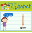 Flashcard letter S is for spine vector image