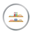 Office shelves with file folders icon in cartoon vector image