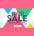 biggest sale banner design with offer details vector image