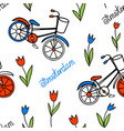 seamless pattern with tulips and bicycles vector image