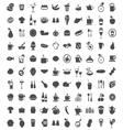 100 Food Icons vector image