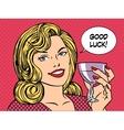 Beautiful woman toast glass wine good luck vector image