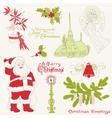 christmas vintage design elements vector image
