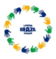 Colorful hand print icon using Brazil flag colors vector image