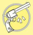 cowboy revolver with bullets vector image
