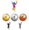Gymnastics with ball icon and sport medals vector image