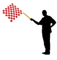 Man waving at the finish of the red white vector image