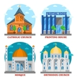 Set of church buildings and printing house facade vector image