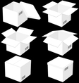 Six boxes isolated on black background vector image