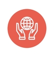 Two hands holding globe thin line icon vector image