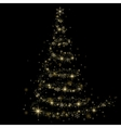 Golden fir on a black background Christmas tree vector image