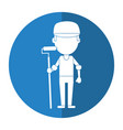 man painter with roller and cap shadow vector image