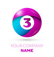 number three symbol in the colorful circle vector image