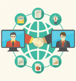 Business Cooperation Concept with Turquoise Globe vector image