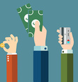 Money in hands icons vector image vector image