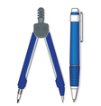 Pen and compasses vector image vector image