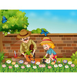 Girl and dad planting trees in the garden vector image