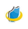 Blue security shield icon isometric 3d style vector image vector image
