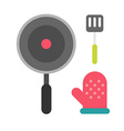 Steel spatula oven glove and frying pan Kitchen vector image