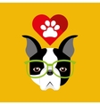 Cute dog pet with paw heart background vector image