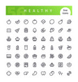 healthy food line icons set vector image