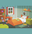 kid or teenager bedroom in the moonlight vector image