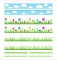 Set of seamless grass with flowers and without vector image