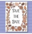 Autumn wedding invitation brown on wooden vector image