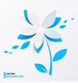 Blue paper flower greeting card template vector image vector image