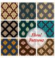 damask floral seamless pattern background vector image vector image