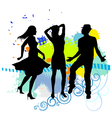 Several people are dancing on the party silhouette vector image vector image